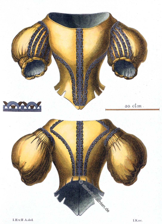 Frauen Jacke, Posamentierarbeit, barock, spanische Kleidermode, Hefner-Alteneck