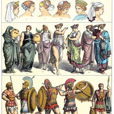 Weibliche Kopftrachten, Trauerkleidung. Griechenland der Antike