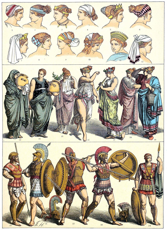 Frisuren, Kopftrachten, Griechenland, Tänzerin, Doppelflötenbläserin, Hoplit,