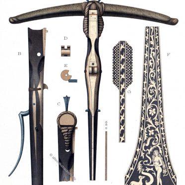 Die Armbrust. Form und Funktionsweise. Fernwaffen.