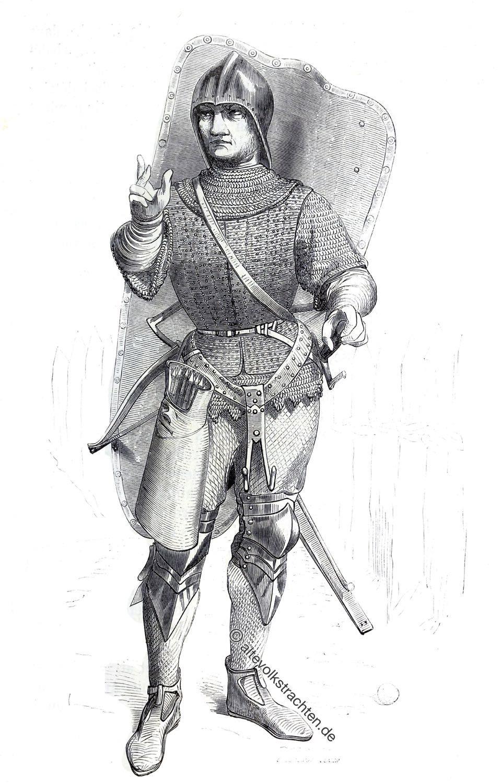 Genueser Armbrustschütze, Genua, Söldner, Mittelalter, Crécy, Viollet-le-Duc