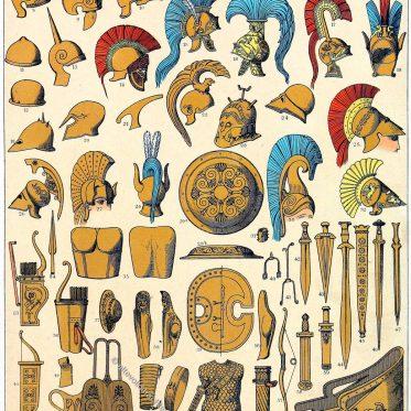 Griechische Sturmhauben und Helme, Schwerter u. Schilde der Antike.