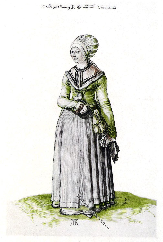 Hauskleidung der Albrecht Dürer, Hauskleidung, Mode, Kostümskizze, Renaissance, Nürnberg,