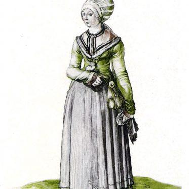 Hauskleidung einer Nürnberger Bürgerin im Jahre 1500.