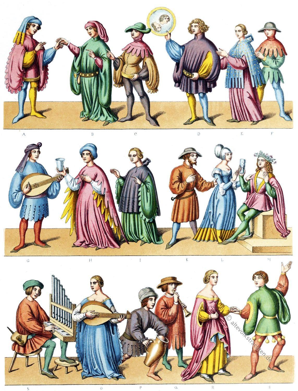 Haustrachten, Kriegstrachten,  mi-parti, Zaddelmode, Mittelalter, Gewandung