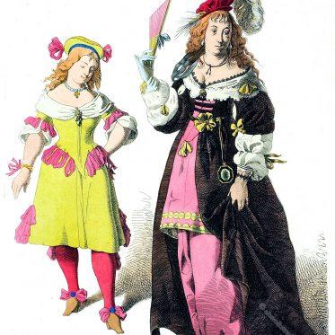 Hauskostüm und Kleidung einer Edelfrau, im Italien des 17. Jhs.