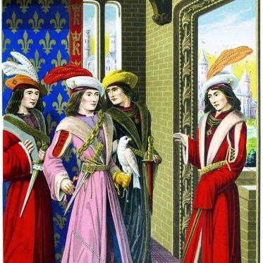 Große Würdenträger des Hofes von Karl VIII. von Frankreich.