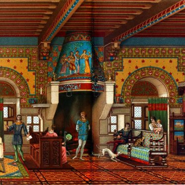 Der grosse Saal eines mittelalterlichen Schlosses im 12 Jh.