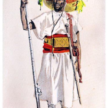 Ein bewaffneter Marokkaner um 1882 nach Mary Elizabeth Herbert.