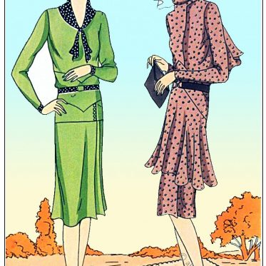 Kostüme aus Krepp des Modehauses Redfern, Paris 1929.