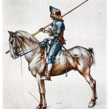 Albrecht Dürer. Ritter zu Pferd mit Lanze um 1498.
