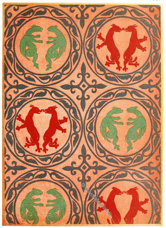 Textildruck, Romanik, Mittelalter, Stoffmuster, Textildesign, Romanik