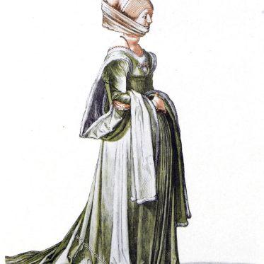 Nürnberger Frau im blassgrünen, pelzgefütterten Schleppkleid.
