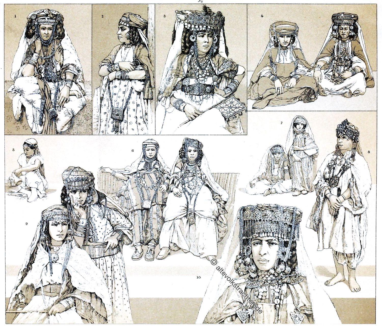Algerien, Berber, Schmuck, Schebka, Kostüm, Ouled-Nail, Trachten