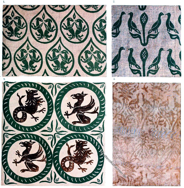 Drachen, Schwarzdruck, Blaudruck, Schleierstoff, Seidenstoffe, Mittelalter, design,