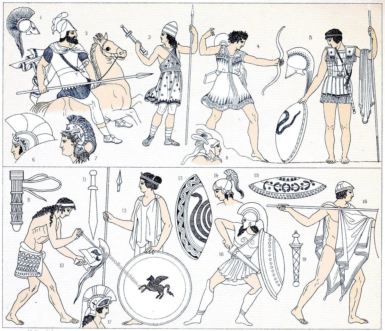 Griechenland, Antike, Soldaten, Spartaner, Hopliten, Bewaffnung,