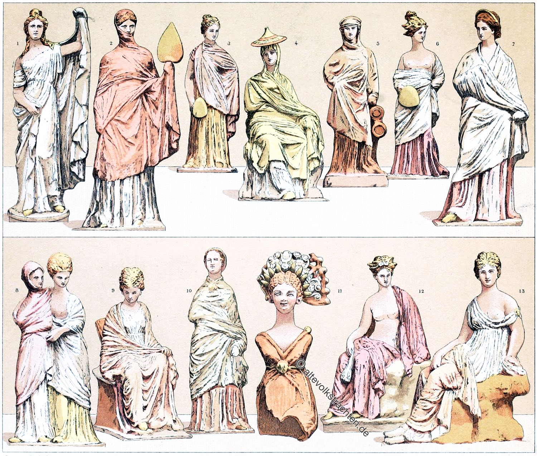 Tanagra, Figuren, Griechenland, Antike, Kostüme, Kleidung