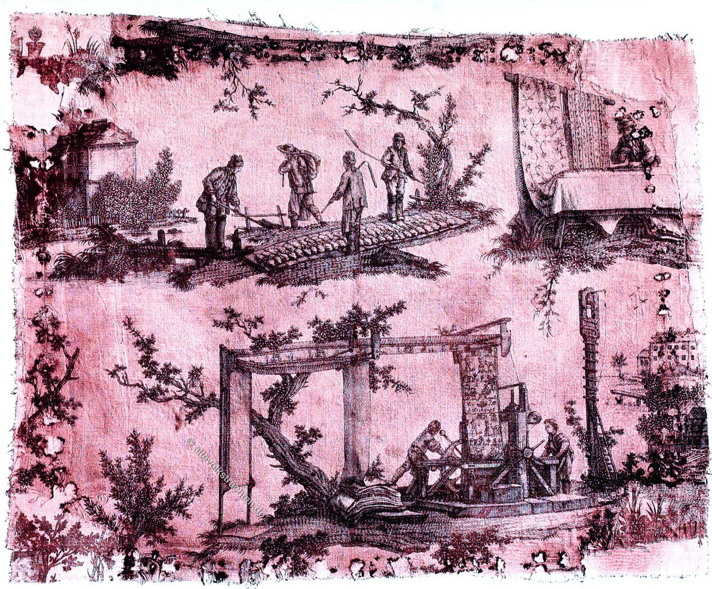 Toile de Jouy, Rotdruck, Textildruck, Oberkamp, Rokoko