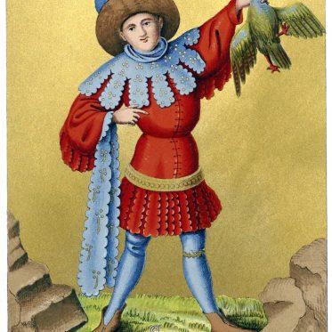 Edelknecht in Festkleidung mit Zaddeln. Spielkarte des 15. Jhs.