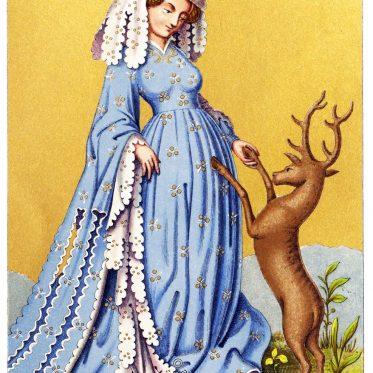 Spielkarte aus dem 15. Jahrhundert. Frauentracht mit langen Zatteln.