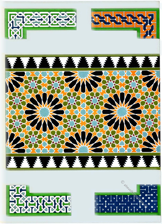 Mosaikmuster, Ornamentik, Alhambra, Granada, Architektur, Baukunst, Maurischer Stil