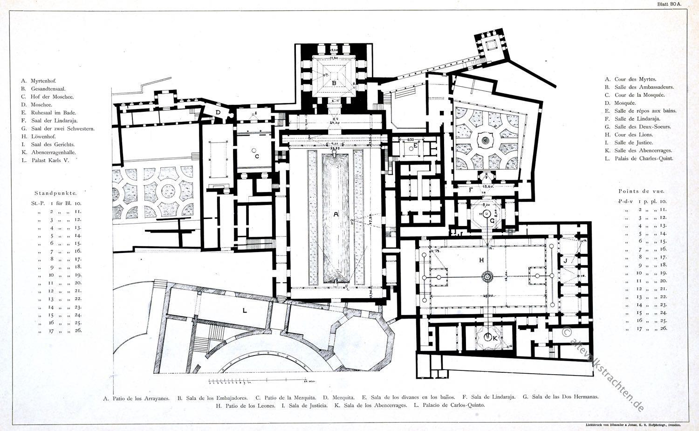 Alhambra, Planta del Palacio, Granada, Architektur, Baukunst, Maurischer Stil