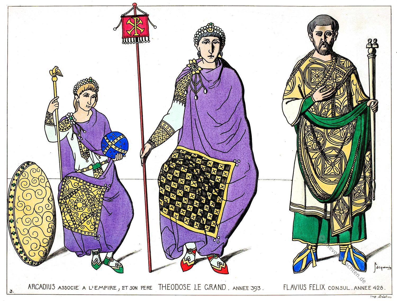 Byzanz, Kaiser, Arcadius, Theodosius I. Flavius Felix, Kostümgeschichte
