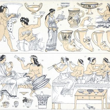 Tischsitten im Griechenland der Antike. Mobiliar, Mahlzeiten.