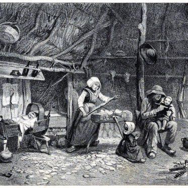 Herstellung von Holzschuhen in der Basse-Bretagne.