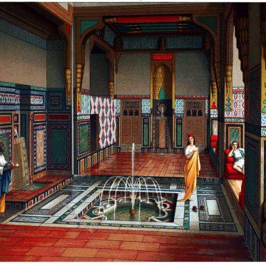 Sommersaal. Darstellung eines reichen Haushaltes in Kairo, Ägypten.