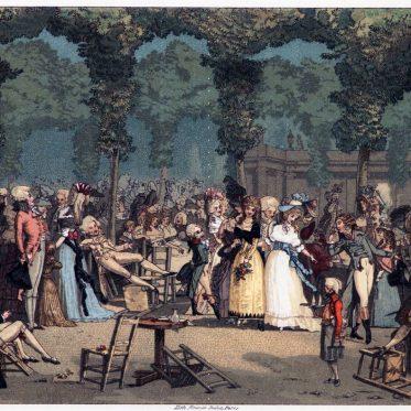 Der öffentliche Spaziergang im Palais-Royal, Paris 1792.