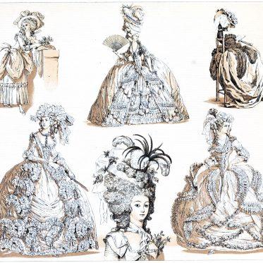 Die grosse Staatsrobe. Modetypen in Frankreich 1775-1785.