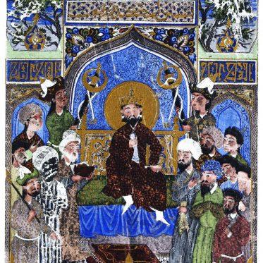 Persische Miniatur des 15. Jh. aus dem Shahnameh. Buch der Könige.