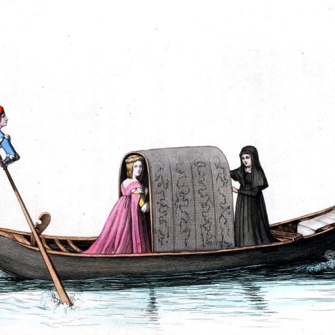 VENEZIANISCHE GONDEL, Gondoliere, Venedig, Italien, Mittelalter