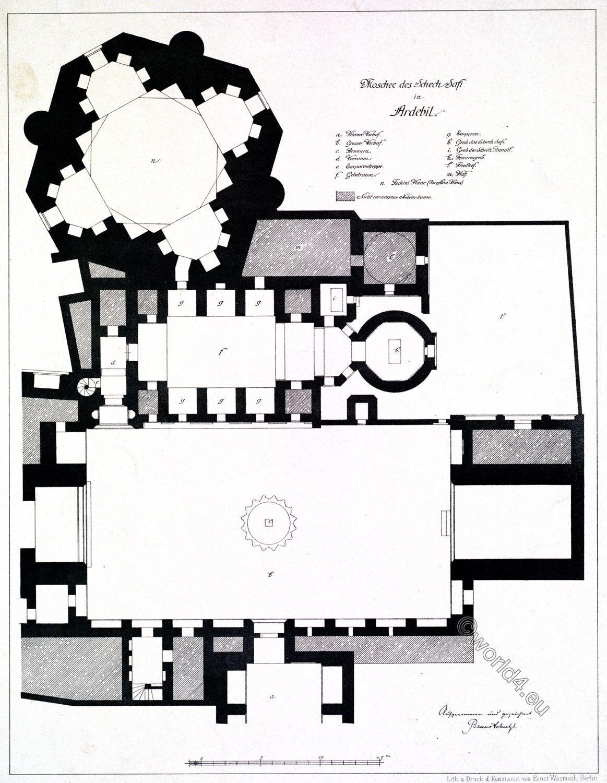 Moschee, Grundriss, Ardabil, Scheich, Safi ad-Din, Baukunst, Persien,