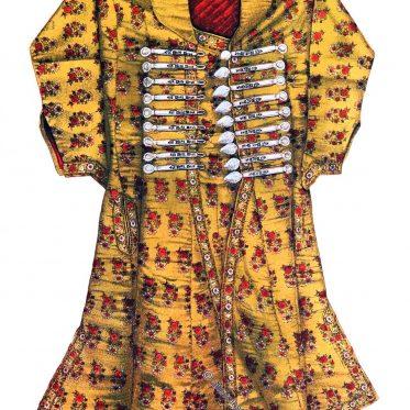 Staatsgewand. Mantel des Maharaja von Jaipur, Rajasthan.