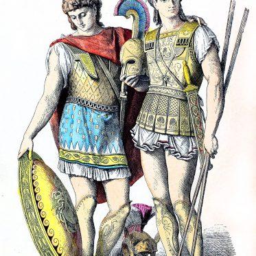 Griechenland der Antike. Soldaten, Heerführer mit Bewaffnung.