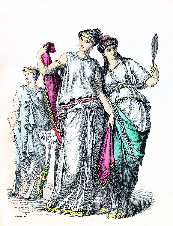 Münchener Bilderbogen, Antike, Greichenland, Kleidung, Kostüme, Priesterin, Griechinnen,