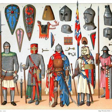 Kriegstrachten im Mittelalter. Fahnen, Banner, Standarten.