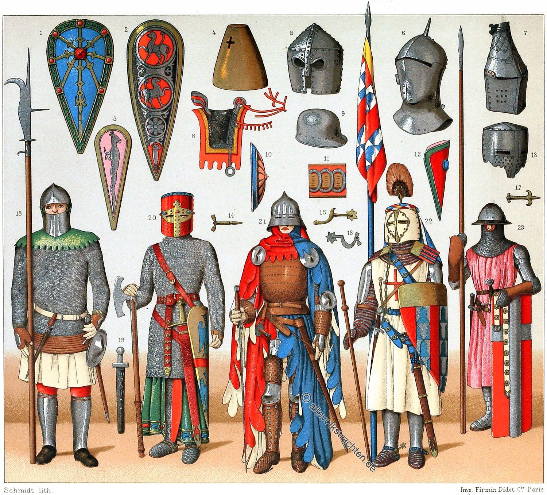 Rüstungen, Ritter, Heraldik , Waffen, Auguste Racinet