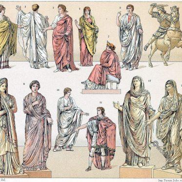 Die Toga. Faltenwurf. Die römisch bürgerliche Tracht.