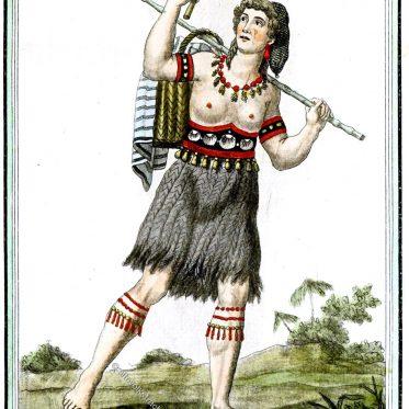 Ureinwohner aus Kalifornien Ende des 18. Jh. Medizinmann, Frau, Mann.