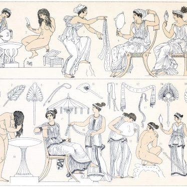 Die Toilette der Frauen im Griechenland der Antike.