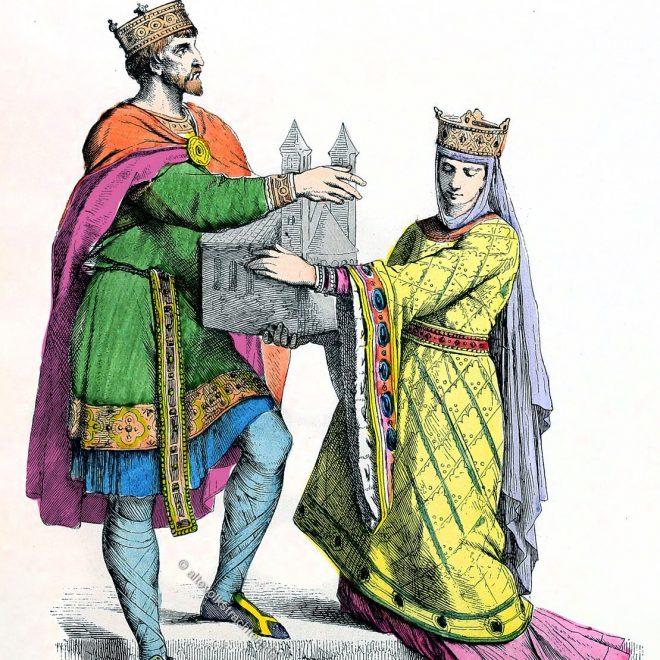 Münchener Bilderbogen, König, Otto I., Königin, Franken, Ottonen, Kleidung, Kostüme, Mittelalter,