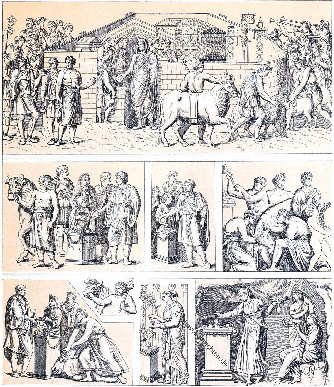 Auguste Racinet, Rom, Religion, Kult, Kultur, Zeremonien, Opfer