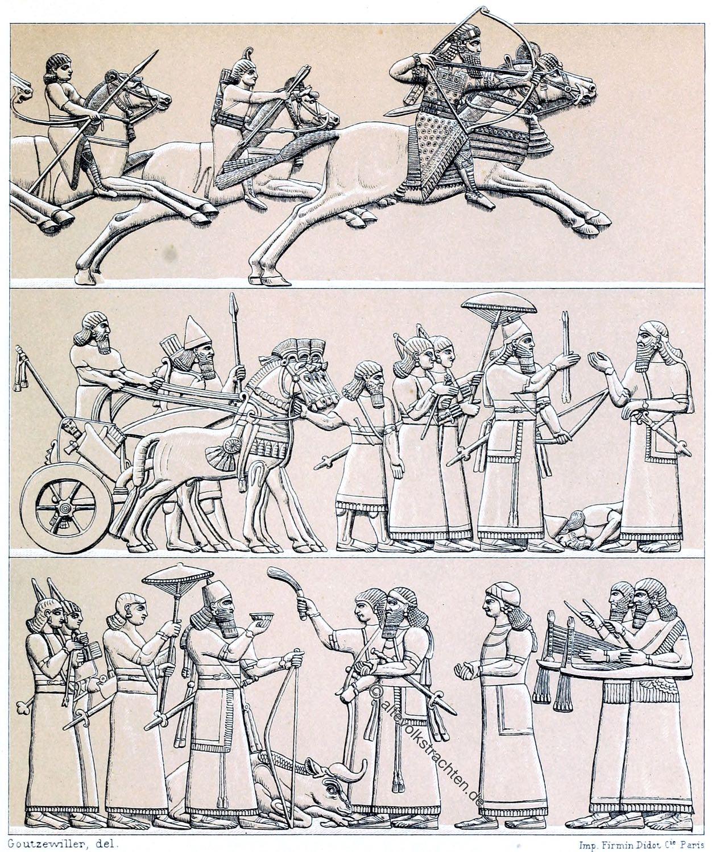 Assyrien, Mesopotamien, Eunuch, Kleidung, Trachten, Kostüme, Reiter Kriegswaffen, Adel, Soldaten,