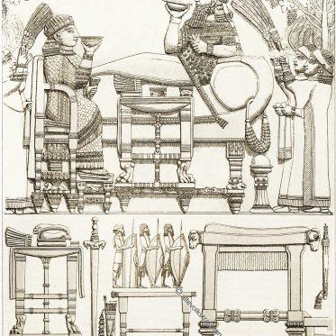 Assyrien. Mesopotamien. Trachten, Waffen und Möbel.