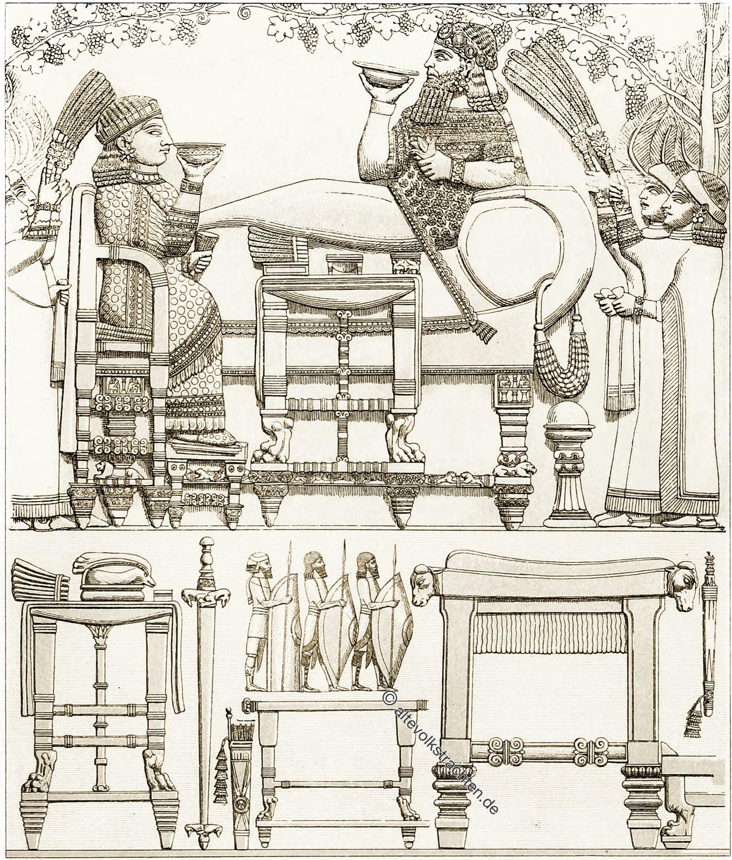 Assyrien, Mesopotamien, Antike, Kultur, Gewänder, Kostüme, Kleidung, Bekleidung, Möbel, Militär