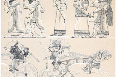 Assyrien, Nimrud, Monumente, Ninive, Tiara, Trachten, Jagdwaffen, Streitwagen