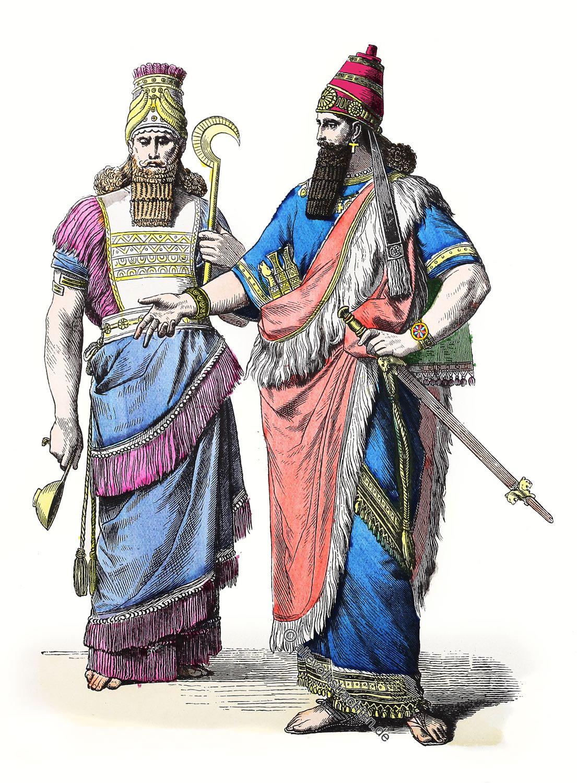 Antike, Modegeschichte, Mesopotamien, Koenig,  Priester, Assyrien, Assyrer, Kostüme, Bekleidung,